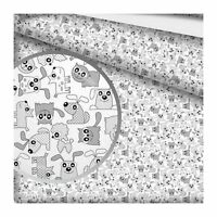 "Grey/White *STARS*ELEPHANTS* 100% Cotton Fabric Material By The Metre 63"" Wide"