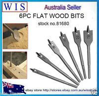 "6/PK Wood Drill Bits Spade Flat Hole Cutter Wood Working,1/4"" Hex Shank -81680"