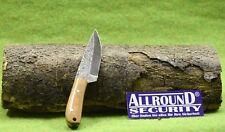 HALLER Mini Messer Damast Stahl Griff Wurzelholz 81546 Knife mit Lederscheid
