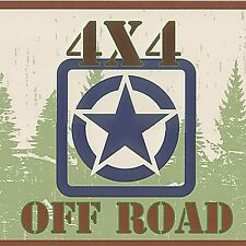 JEEP LOGO - WW2 JEEP  - 4x4 OFF ROAD - 60 feet ONLY $30 - Wallpaper Border A045