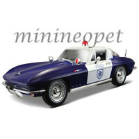 MAISTO 31381 1965 CHEVROLET CORVETTE POLICE CAR 1/18 DIECAST MODEL BLUE / WHITE