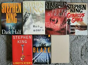 STEPHEN KING HARDCOVER 7 BOOK LOT HORROR SUSPENSEDARK HALF BLAZE LISEYS GERALDS