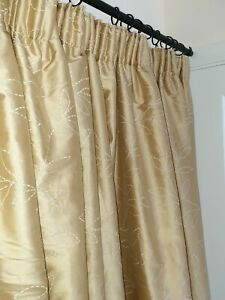 """Single Embroidered Gold Silk Interlined MTM Curtain 99""""W/83.5""""L"""