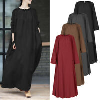 UK Womens Long Sleeve Plus Size Kaftan Abaya Maxi Dress Casual Plain Shirt Dress