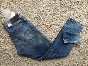 BNWT Mens G-Star Raw 3301 Tapered Rico Denim DK Aged Jeans - Size 33x32