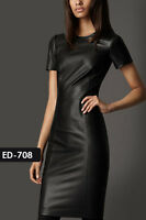 Genuine Soft Lambskin Leather Short Sleeves Knee Length Dress