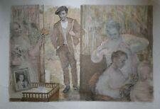 Lucien Philippe MORETTI-Lithographie originale signée -Sac de billes : le coiffe