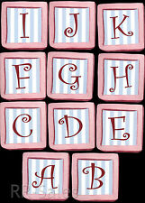 Pink Blue Baby Alphabet Letter Blocks Name 50 Wallies Wall Stickers Decals Decor