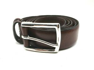 Mens Polo Ralph Lauren Brown Leather Belt Size 42 Silver Tone Buckle
