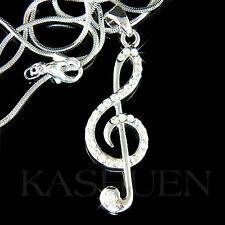 w Swarovski Crystal ~TREBLE CLEF Music Note Musical Jewelry Pendant Necklace NEW