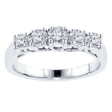 1.00 CT Braided Prong Set Round Diamond Wedding Band in 18k White Gold
