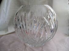 Clear Cut Crystal Glass Round Vase Bowl Heavy