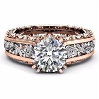 925 Silver White Topaz& Morganite Women Wedding Engagement Ring Jewelry Sz 6-10