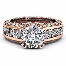White Topaz& Morganite 925 Silver Women Jewelry Wedding Engagement Ring Sz 6-10