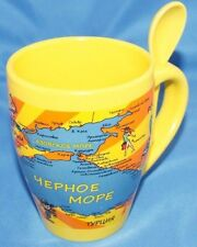 Unique Russian Coffee Cup Mug spoon handle Preowned YEPHOE MOPE Black Sea Old?