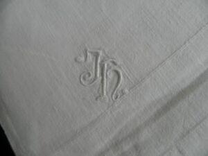 Bettlaken Leintuch Betttuch Halbleinen Mg. JH Vintage