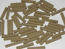 LEGO LOT OF 50 NEW DARK TAN 1 X 8 DOT BRICKS BUILDING BLOCKS PIECES