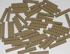 LEGO LOT OF 50 NEW DARK TAN 1 X 8 DOT BRICKS BUILDING BLOCKS PIECES