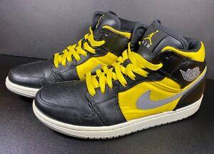 Nike Air Jordan 1 Retro Mid Phat Black Speed Yellow RARE Size 10 Pre-owned