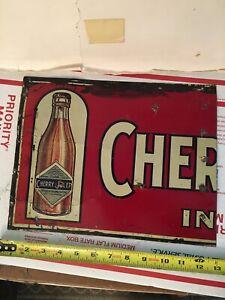 VINTAGE ORIGINAL CHERRY JULEP SODA POP BOTTLE ADVERTISING SIGN TIN TACKER RARE!