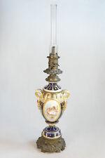 """XXL 35""""  Vieux paris porcelain 1880 Petrol oil lamp Putti cherubs hand paint"""