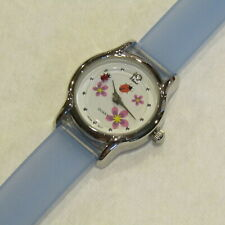 AVON Watch Ladybug Spring Garden Blue Flex Strap Flowers