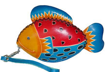 Leather Change/coin Purse,Jewelry Holder. Beautiful Colorful Ocean Fish Pattern.