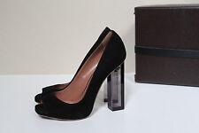 New sz 8 / 38 Azzedine Alaia Black Suede Peep Toe Platform Pump Clear Heel Shoes