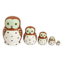 5pcs Set Russian Owl Nesting Dolls Hand Painted Tiny Matryoshka Babushka ! !! !!