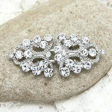 Silver Diamante Rhinestone Crystal Wrap Sweater Hook and Eye Clasp Button