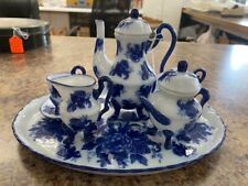 Vintage Flow Blue Bone China Child's Tea Set with Tray 10 pieces