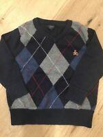 BabyGap Toddler Boys Navy Vneck Argyle Sweater 12-18 Months Pre-Owned