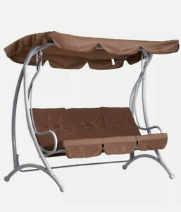 ^ 3-Seater Metal Swing Chair Bench- Garden Outdoor Seat Patio Coffee 26:1