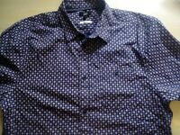 Mens Short Sleeve Slim Fit Cotton Shirt Size M