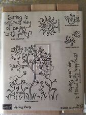 Stampin' Up SPRING PARTY Set of 6 Stamps Retired 2003 Sun Butterflies Birds Tree