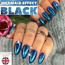 Mermaid Effect BLACK Nail Art POWDER IRIDESCENT Trend Glitter Mirror 5g (black)