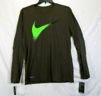 The Nike Tee Standard Fit Men's L/S T-Shirt Dri-Fit Olive Size Large Polyester
