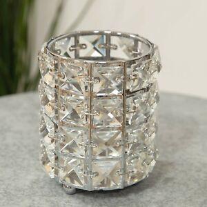 Hestia Diamante Silver Metal Tealight Candle Holder