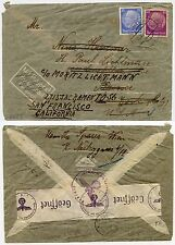 GERMANY 1940 to USA FORWARDED NOT AIRMAIL...THIRD REICH CENSOR