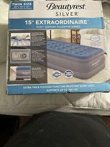 """TWIN Air Mattress Beautyrest Silver 15"""" Extraordinaire (Tested Good) 39x75x15"""