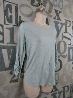 Cupio 3/4 Sleeve Light Green Knit Top Women XL Stretch Button 3/4 Sleeve