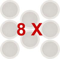 8 x White Ceiling Wall Surround Sound SPEAKER PA HiFI System Audio 952.184