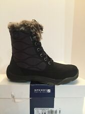 NIB Womens Sperry Winter Cove Snow Boots in Linen Black STS90006 Size 6 M