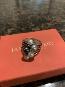 Retired James Avery Sterling Silver Burgeon Pearl Ring Size 8.5