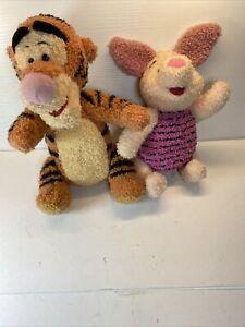 """TIGGER And PIGLET lot Disney Mattel Singing Talking Jointed Plush Toy 10"""" 1998"""
