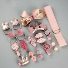 18 PCS Baby Toddler Hair Clips Ties Gift Set Pink Bow Girls Cute Styling Kit