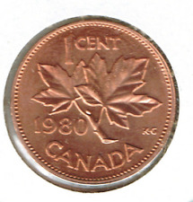 1980 Canadian Uncirculated One Cent Elizabeth II Coin!