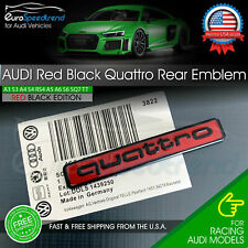 Audi Red Black Quattro Emblem Rear Liftgate Adhesive Logo Lid Badge