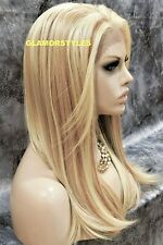 Human Hair Blend Hand Tied Lace Front Full Wig Long Layered Blonde Mix Heat OK