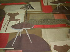 "~BTY~P KAUFMANN~""MODERN RETRO EAMES ERA""~EMBROIDERED UPHOLSTERY FABRIC FOR LESS~"